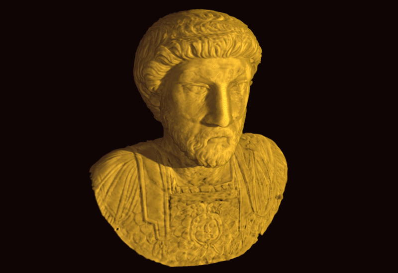 PSI neutron tomography.<br>A bust of the Roman Emperor Marcus Aurelius. Neutrons made it possible to see right through this statue, which is fashioned of pure gold.