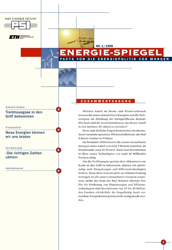 The first edition of Energie-Spiegel in 1999.
