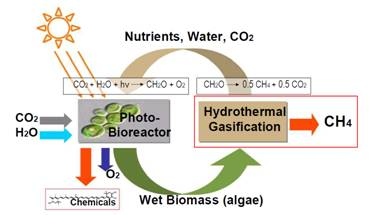 Figure 1: Closed-loop system for biomethane production from microalgae (SunCHem project).
