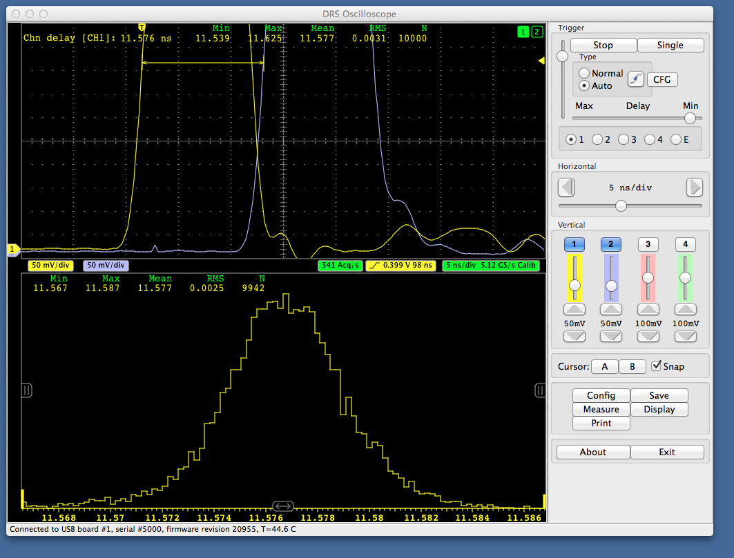 DRS Oscilloscope Application running under Mac OSX. The delay between two pulses is measured with a 2.5 ps accuracy.