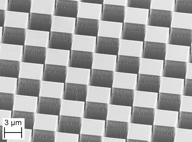 Figure 2 Scanning Electron Microscopy (SEM) image of the silicon phase grating fabricated at PSI. The 2D grating pitch is 8.29 micrometer