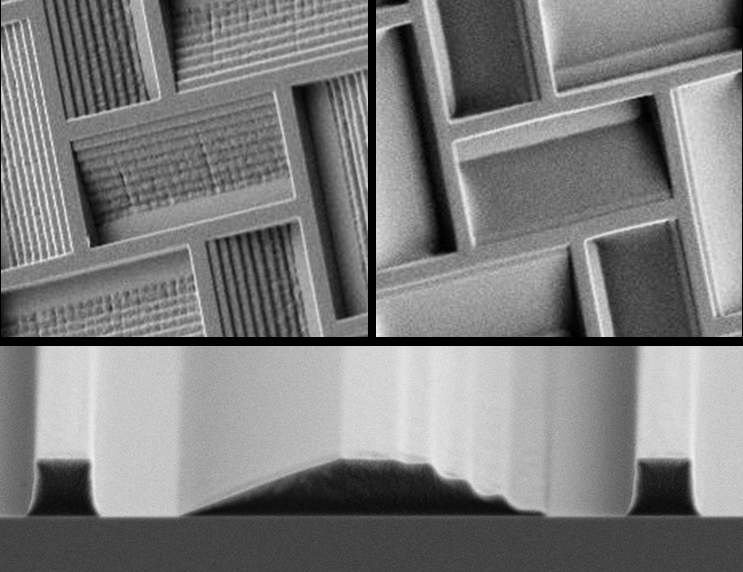 3D Topological profiles in 1 µm thick PMMA layer