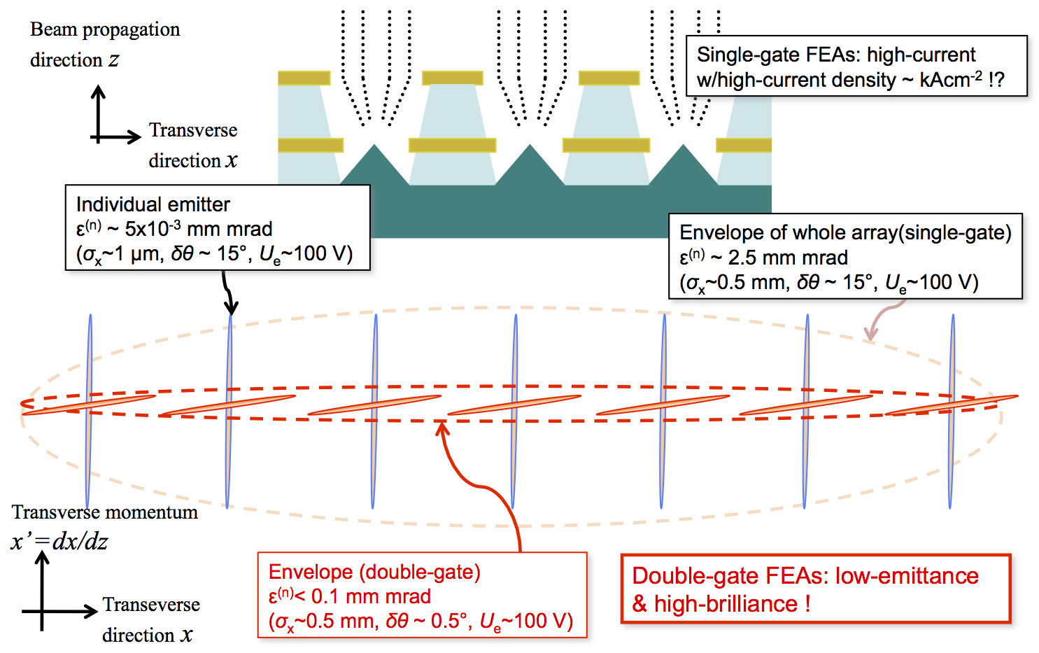 Fig.3 Phase space schematic of electron beam from field emitter arrays: substantial reduction of array beam emittance with double-gate structures