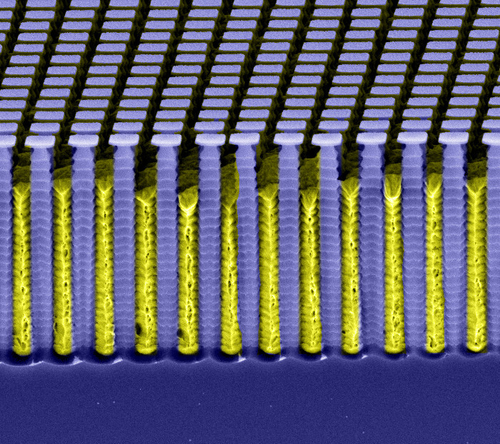 Figure 4: Two-dimensional mesh patterned analyzer grating G<sub>2</sub> (structure height: 7 µm, period: 2 µm)