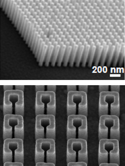 SEM images of high aspect ratio plasmonic nanostructures.