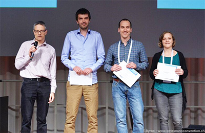 Marcin Gorzny (second from the left) reveiced one of the three poster prizes at the Swiss Nanoconvention 2017