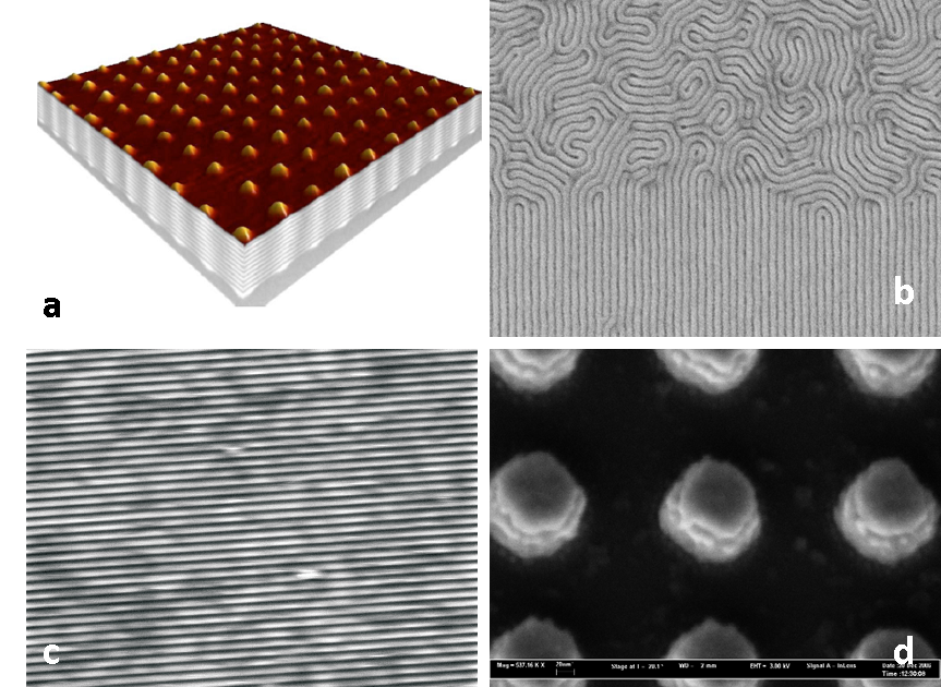 Examples for Applications of EUV-IL: a) 3D germanium quantum dots, b) Guided self-assembly of block copolymers, c) structuring of a graphene monolayer, and d) generation of metamaterials