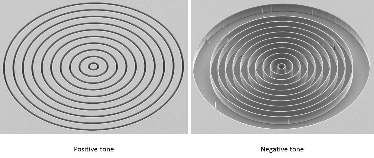 Fig. 2: SEM images of a Zernike phase shifting structures etched into a Silicon membrane. The outer diameter is 100 microns.