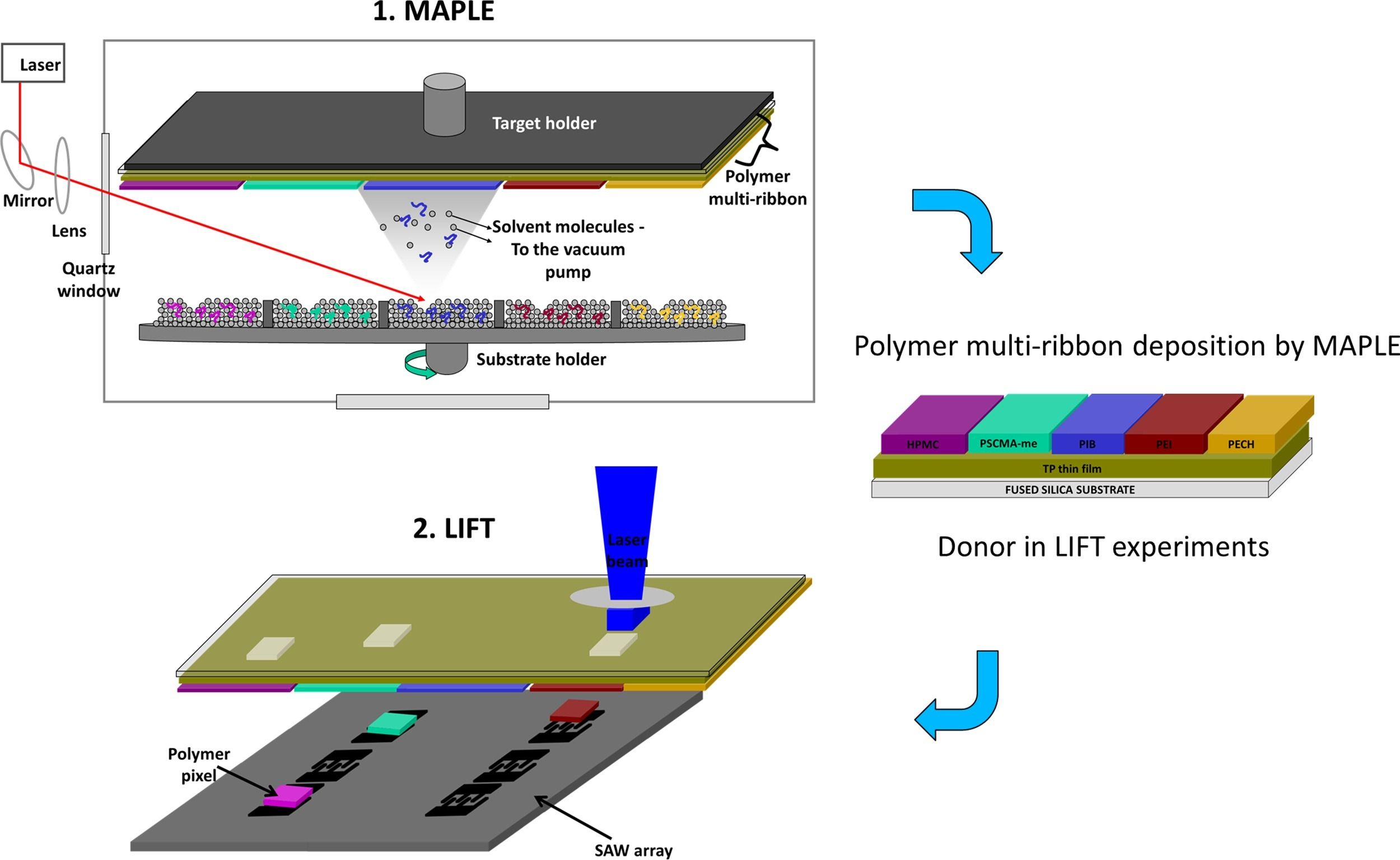 Scheme of the laser based methods applied for coating the SAW devices: MAPLE is used to fabricate in one step a polymer multi-ribbon, which is afterwards used as a donor for printing by LIFT of polymer pixels onto the SAW resonator. From Fig. 1