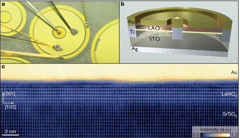 Photograph (a) and schematic cross section (b) of a typical Au&ndash;LaAlO<sub>3</sub>&ndash;SrTiO<sub>3</sub> tunnel device. The broad gold ring (inner diameter, 160&thinsp;&mu;m) lies on top of the LaAlO<sub>3</sub> layer, which serves as a tunnel barrier between the 2DEL and the Au. The outer ring and the centre contact of the device are Au-covered Ti contacts to the 2DEL. c, Cross-sectional high-angle annular dark-field STEM image of a Au&ndash;LaAlO<sup>3</sup>&ndash;SrTiO<sub>3</sub> tunnel junction. The image is taken along the zone axis of the perovskite unit cells. a.u., arbitrary units.