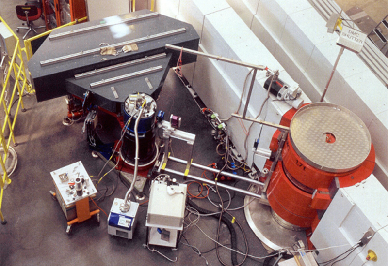 Photograph of the neutron scattering experiment shown above.