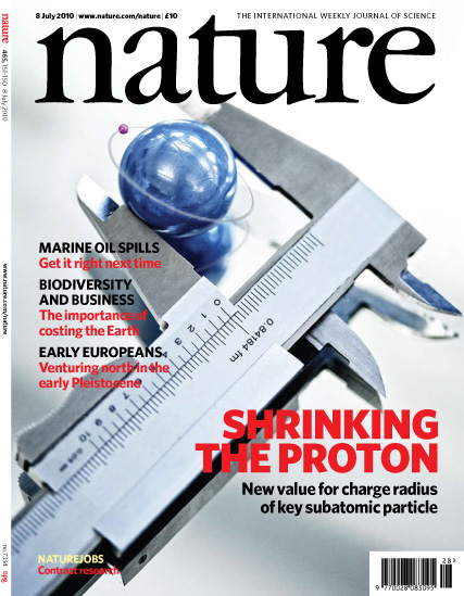 Measuring the radius of the proton on the cover of the journal Nature <br><a href=http://www.nature.com/nature/index.html>Reprinted by permission from Macmillan Publishers Ltd: Pohl, R. et al.  Nature 466, 213-217 (2010)</a>
