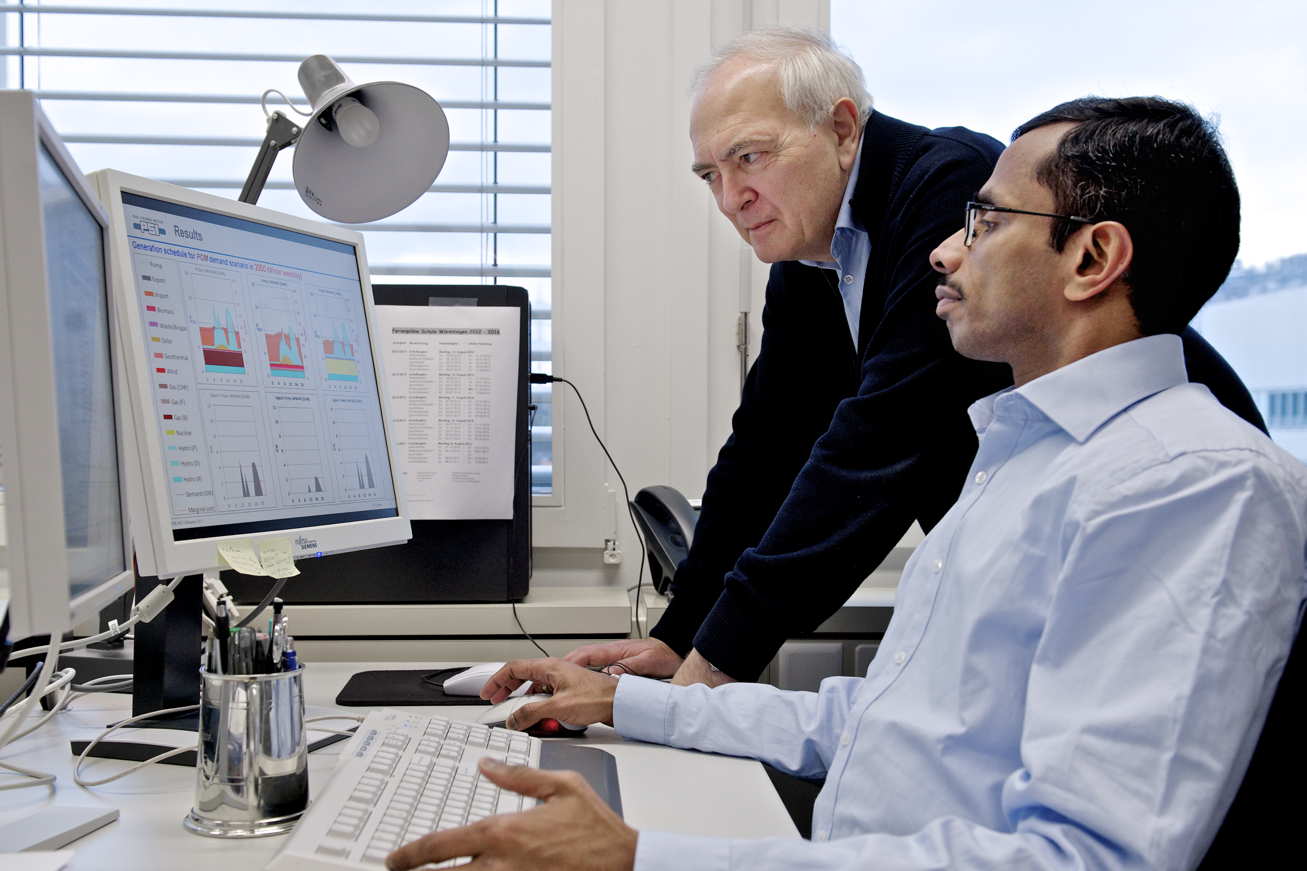 Stefan Hirschberg, Head of the Laboratory of Energy Systems Analysis, and Kannan Ramachandran, co-author of the STEM-E model.