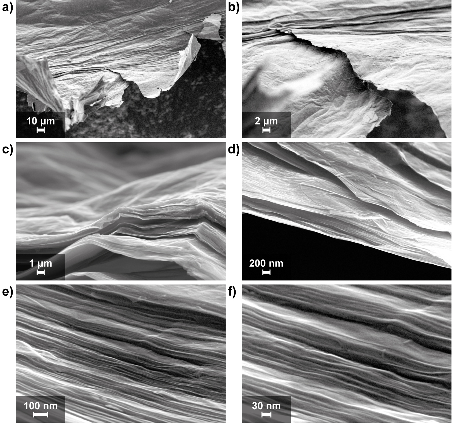 Scanning electron microscopy images show  (especially those at the bottom with a nanometer resolution) the layered, paper-like structure of the synthesised graphene electrode. Source: Paul Scherrer Institute
