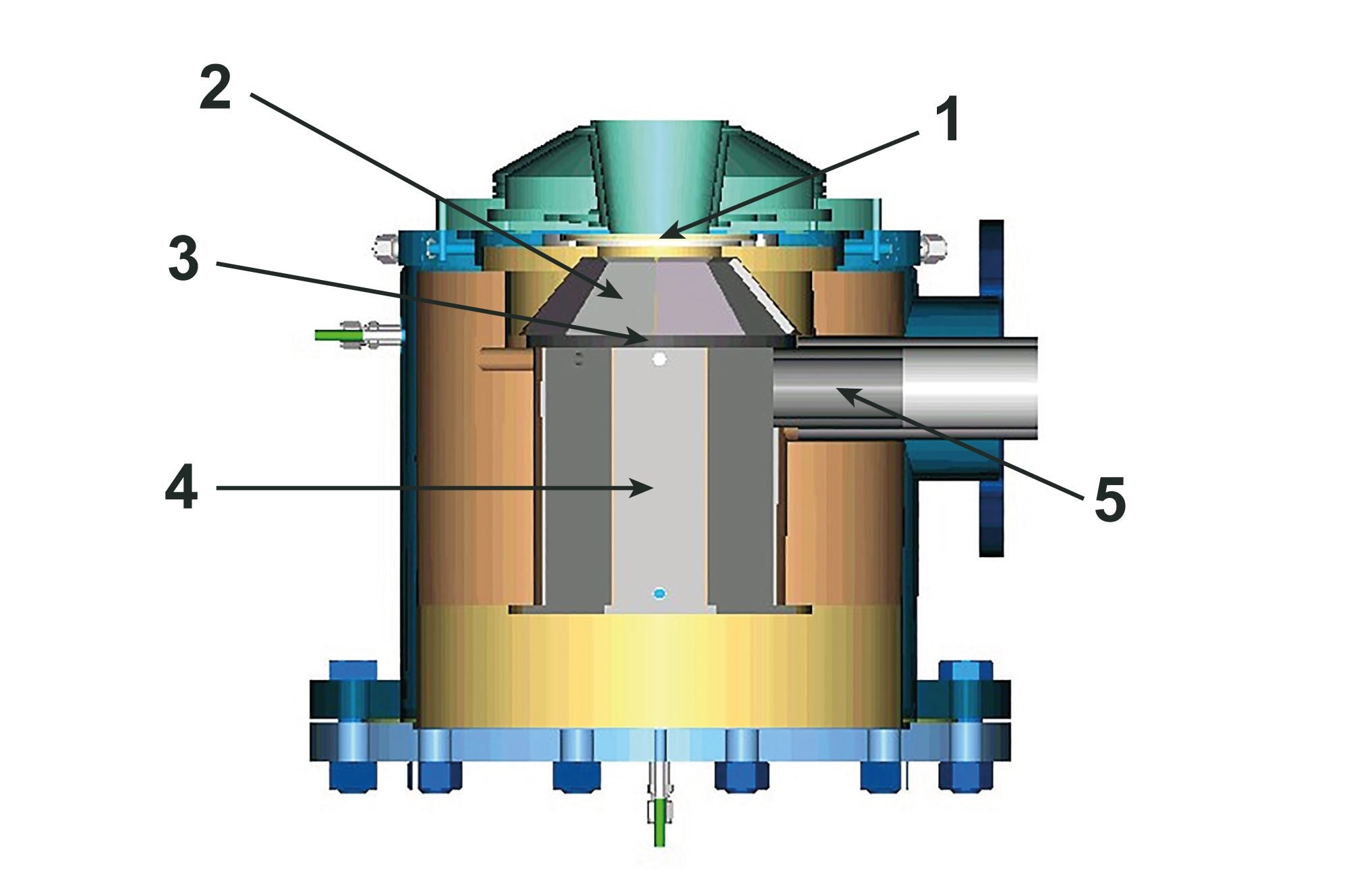 The solar reactor used by the researchers has two chambers. The concentrated radiation enters the upper chamber (1) via the entry window (made of quartz)(2) and heats the partition between the chambers. The heated separation wall (3) then radiates the majority of the energy absorbed into the lower chamber (reaction chamber)(4), where the actual chemical reactions take place. This separation makes sure that evaporated gas or rogue particles in the reaction chamber leave the reactor through the exhaust pipe (5) instead of reaching the quartz window and accumulating on it as solid residues, which would absorb the incident radiation, overheat the entry window and potentially damage it. The problem of window contamination is one of the biggest technical hurdles in upgrading this kind of solar reactor to an industrial scale. Source:Paul Scherrer Institute.