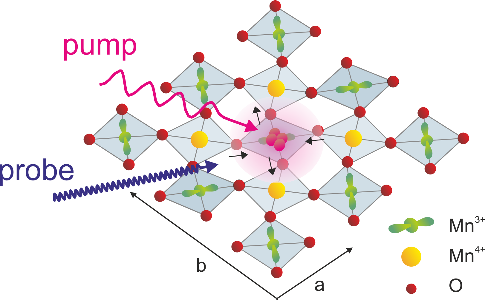 The principle of the experiment described. At the beginning the manganese atoms occur in three different states which correspond to the various electron states – orbitals (spherical – yellow – or dumbbell-shaped with two different orientations – green). A laser pump excites the electrons. An x-ray laser probe examines the different states.