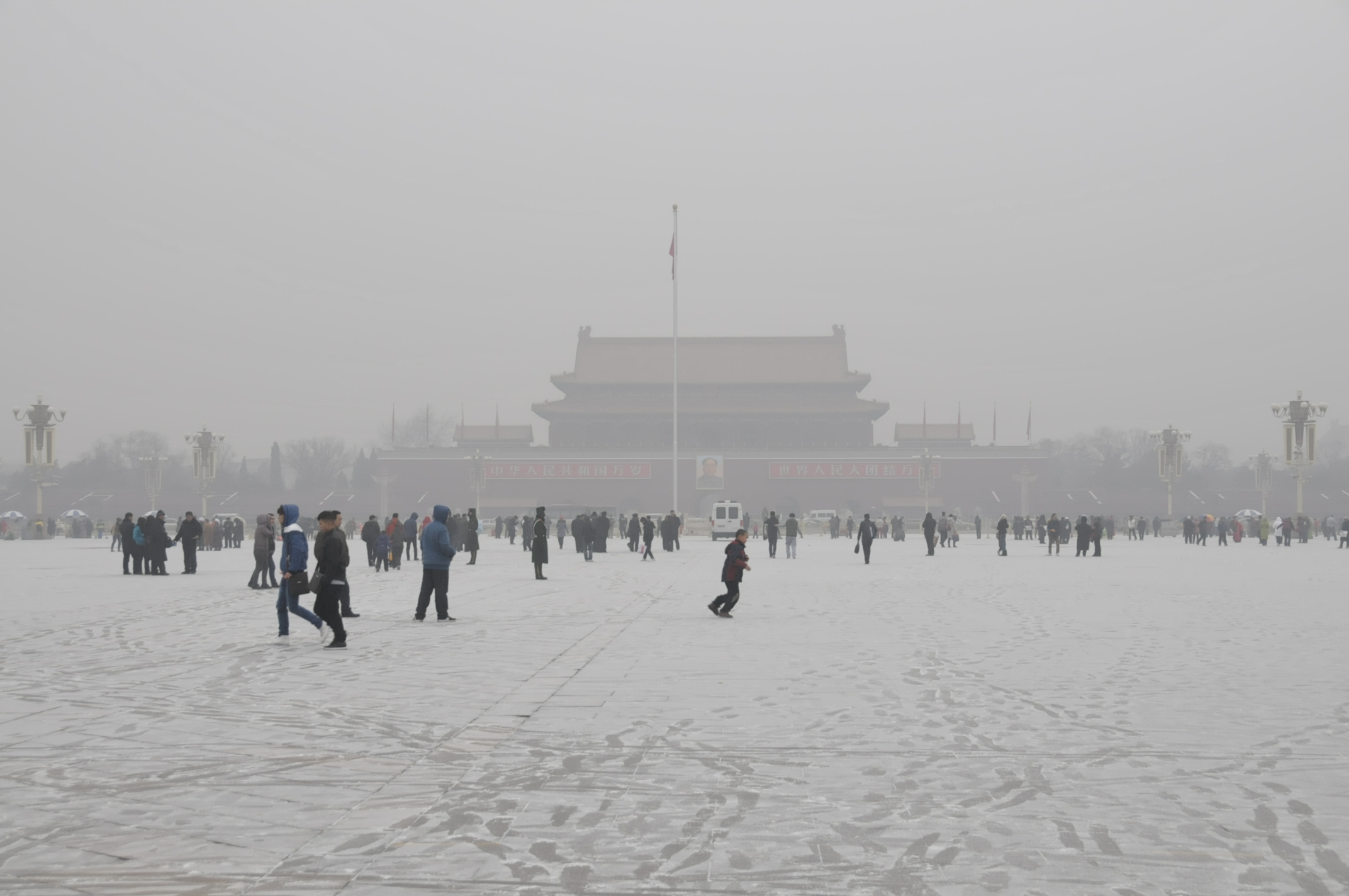 "Images of the ""airpocalypse"", here on Tiananmen Square in Beijing. In the Chinese capital, coal combustion was the main source of the record high particulate air pollution. Picture: Paul Scherrer Institute."