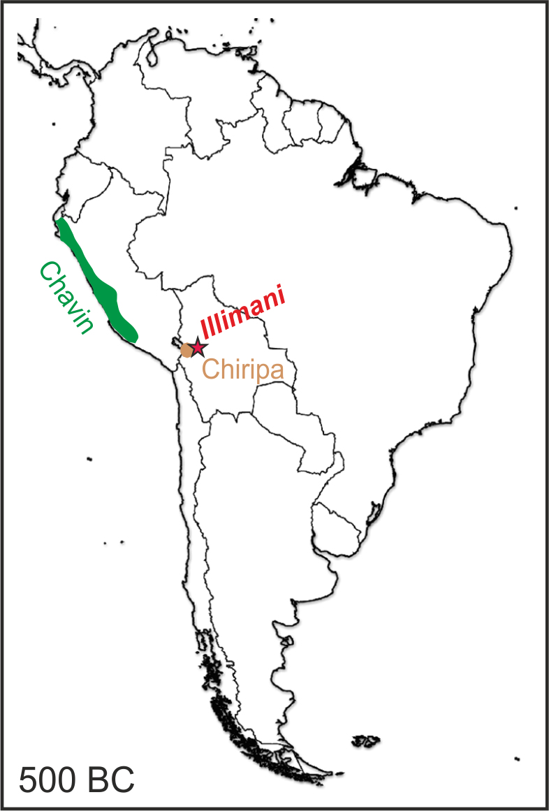 The image shows the schematic extension of the Chavin and Chiripa cultures in Southern America around 500 BC and the location of the Illiman site in the Bolivian Andes (red star). (Figure: Paul Scherrer Institute/Anja Eichler)