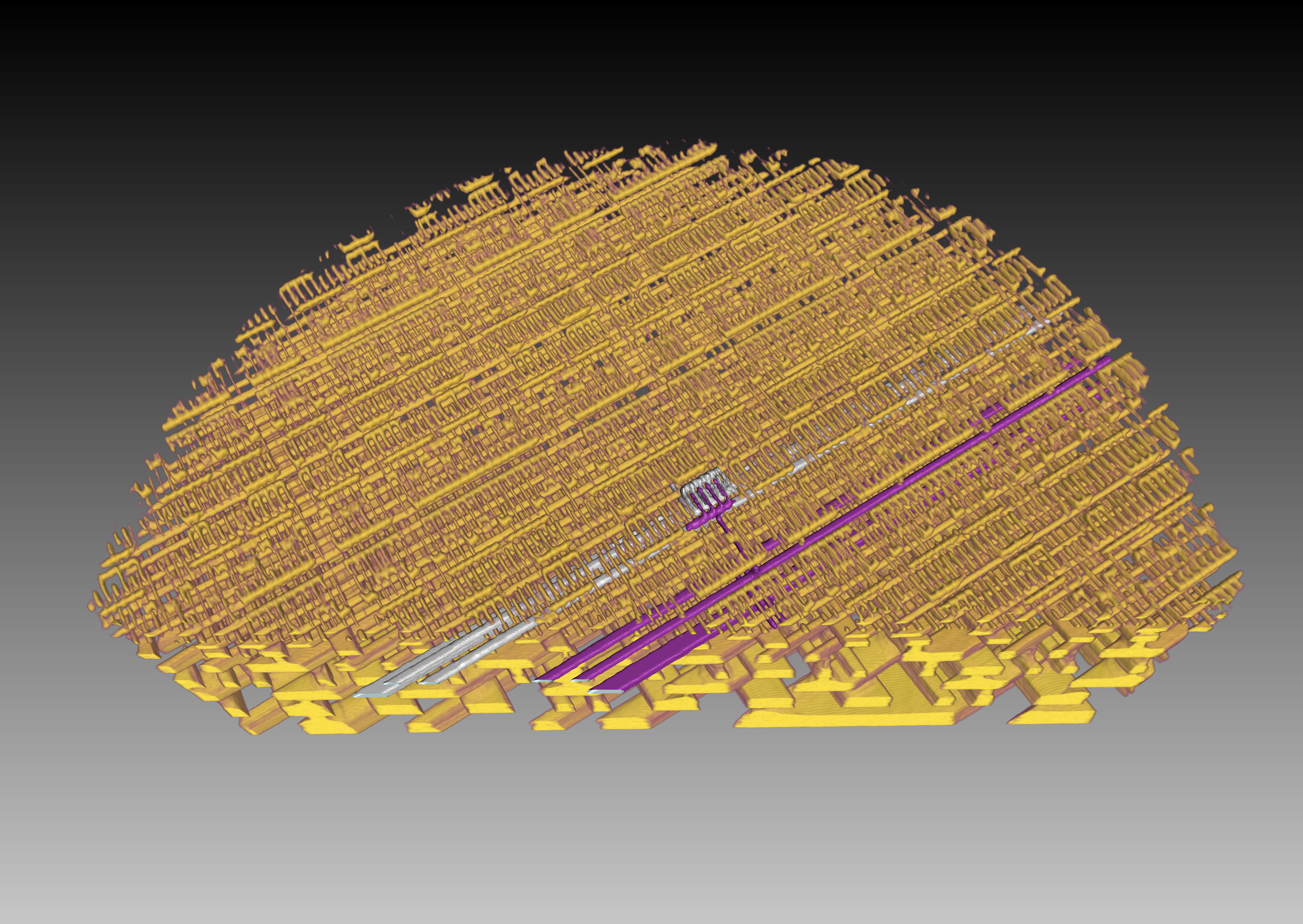 A second 3-D representation of the internal structure of a microchip (an Intel processor). (Photo: Paul Scherrer Institute/Mirko Holler)
