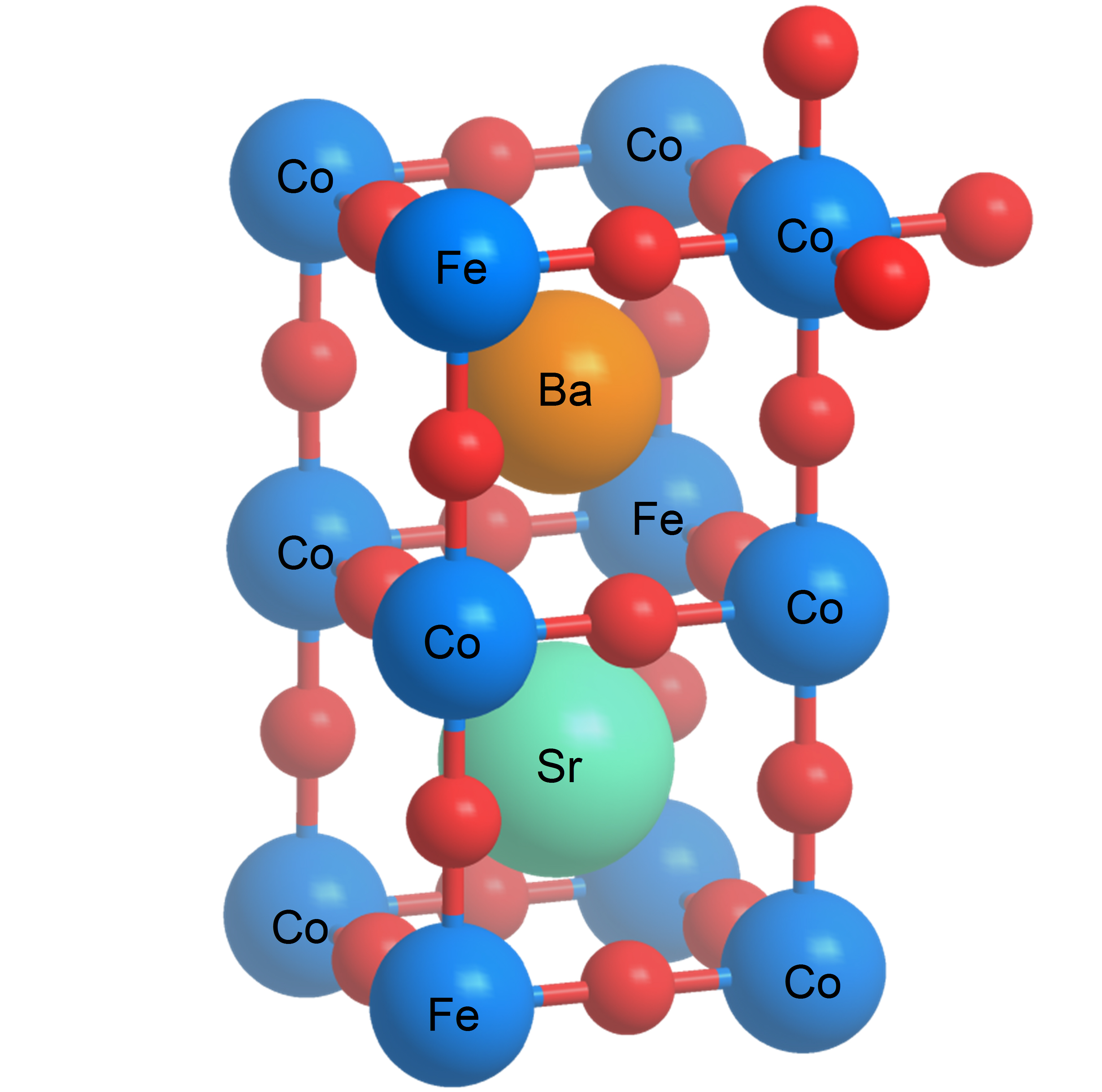 Structure of a perovskite. The chemical symbols correspond to the material investigated. The red balls represent the oxygen. (Graphics: Paul Scherrer Institute/Emiliana Fabbri)