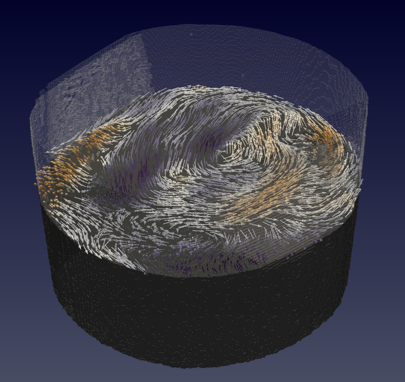 Swirling internal magnetic structure. A section of the investigated sample, which is a gadolinium-cobalt pillar of diameter 0.005 millimetres (5 micrometres), is shown. With magnetic tomography, scientists determined its internal magnetic structure. Here, the magnetisation is represented by arrows for a horizontal slice within the pillar. In addition, the colour of the arrows indicate whether they are pointing upwards (orange) or downwards (purple). (Graphics: Paul Scherrer Institute/Claire Donnelly)