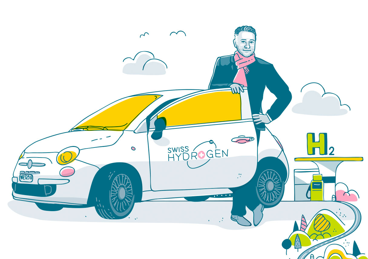 Alexandre Closset, CEO of Swiss Hydrogen (Illustration: Christoph Frei)