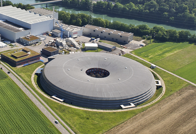 Aerial view of the Swiss Light Source (SLS)