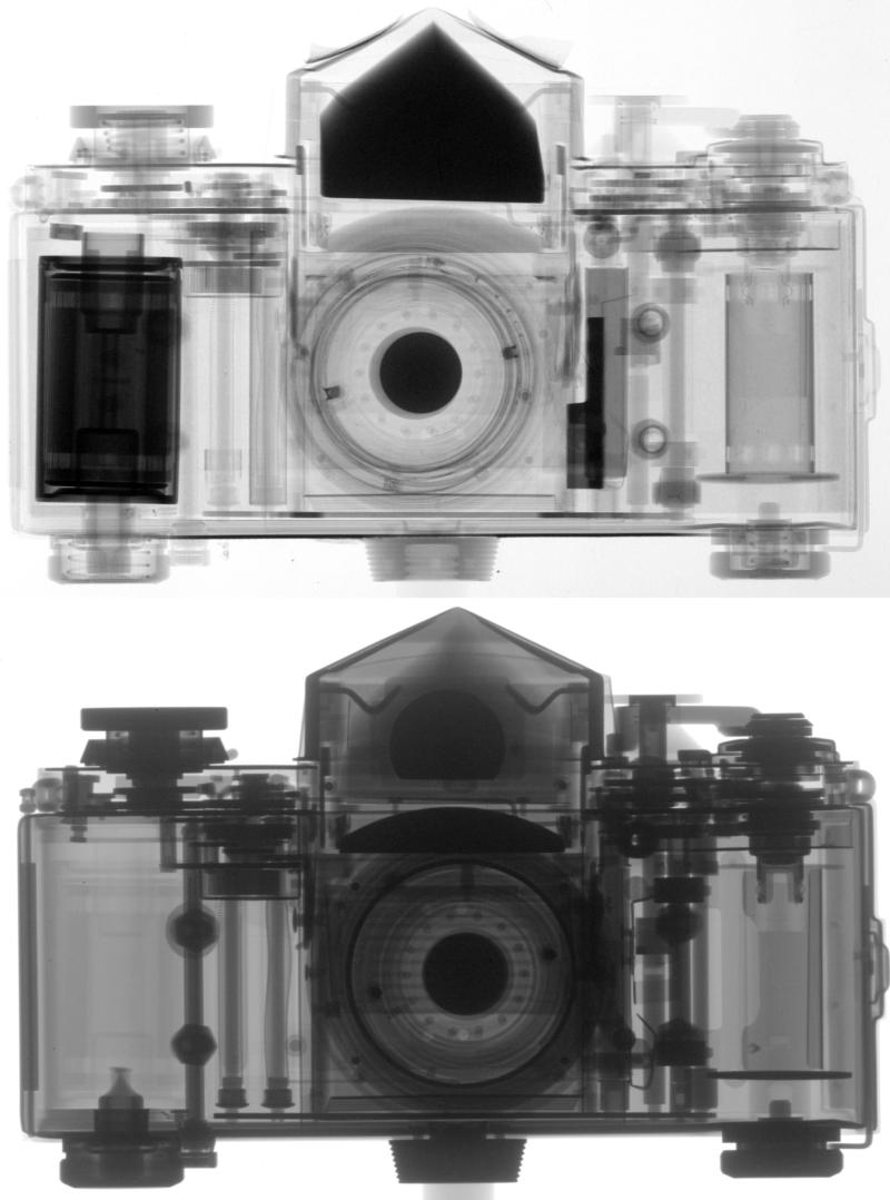 Figure 1: Radiograph of an analog camera: by neutrons (top) by X-rays (bottom). While X-rays are attenuated more effectively by heavier materials like metals, neutrons make it possible to image some light materials such as hydrogenous substances with high contrast: in the X-ray image, the metal parts of the photo apparatus are seen clearly, while the neutron radiograph shows details of the plastic parts.