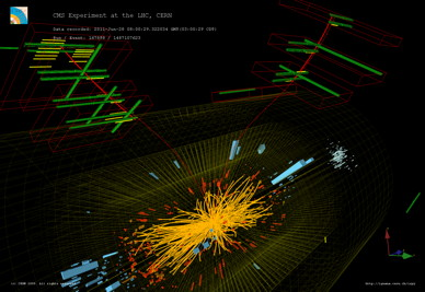 Proton-antiproton collision seen by the CMS experiment