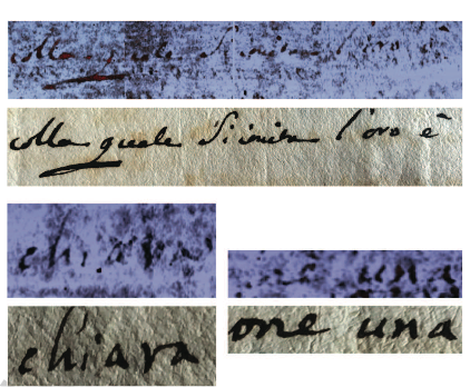 Several examples of tomography reconstructed inner page portions revealing words and sentences (top), compared to visible pictures (bottom) [4].