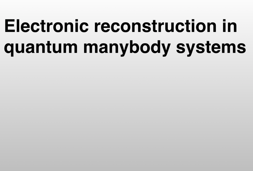 electronic_reconstruction_in_quantum_manybody_systems