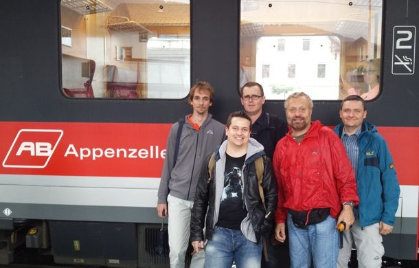 FAST in August 2014 (LRS Outing at Appenzeller). Left to right: Carlo Fiorina, Boris Hombourger, Konstantin Mikityuk, Sandro Pelloni, Jiri Krepel.