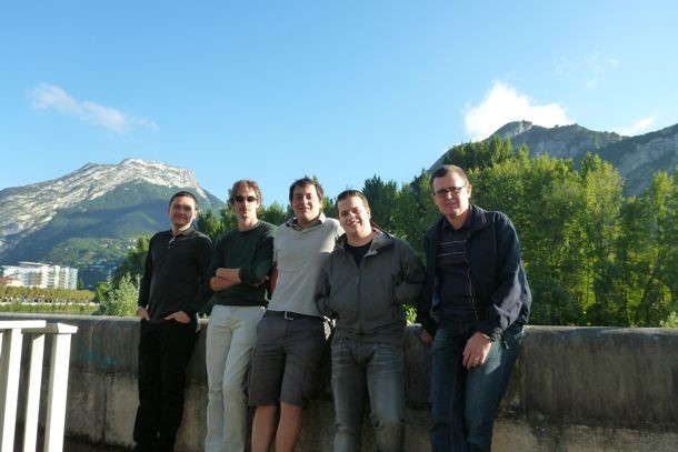 FAST in September 2014 (Visit to LPSC/IN2P3, Grenoble, France). Left to right: Jiri Krepel, Carlo Fiorina, Manuele Aufiero (LPSC/IN2P3), Boris Hombourger, Konstantin Mikityuk.