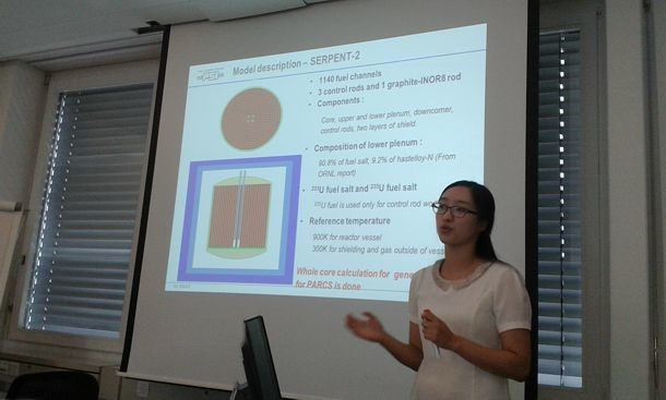 FAST in August 2015 (PSI Villigen). Hyemin Kim defends her MS thesis 'Static and transient analysis of Molten Salt Reactor Experiment using SERPENT-2/TRACE/PARCS codes'.