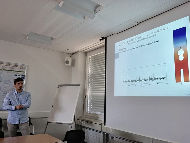 FAST in May 2018 (PSI Villigen). Simone Mambelli defends his MS thesis 'Analytical and experimental study of chugging boiling instability: the CHUG project'.