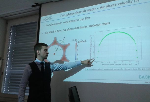 FAST in August 2015 (PSI Villigen). Benoit Soubelet defends his MS thesis 'Time efficient fluid dynamics analysis of sodium fast reactor wire wrapped rod bundles'.