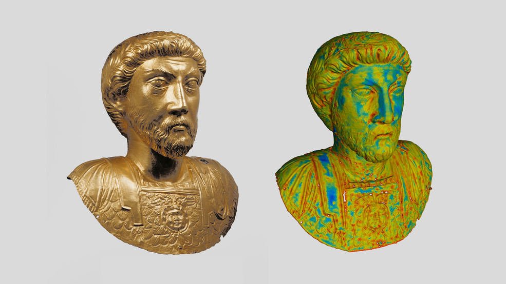 Imaging by means of neutrons (see on the right) makes it possible to measure the wall thicknesses of the nearly life size, hollow bust. Blue stands for 1.5 millimetres, yellow for 0.6 millimetres, red for 0.1 millimetres. (Photo on the left: AVENTICUM - Roman Museum in Avenches / Jürg Zbinden; Image on the right: Paul Scherrer Institute / Neutron Imaging and Activation Group)
