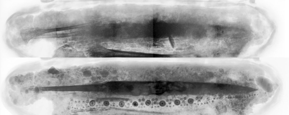 Figure 2: Top: Neutron radiograph showing bones, leather (better visible with neutrons). Bottom: X-ray image of block with sword, knife and metallic decoration (better visible with X-rays)