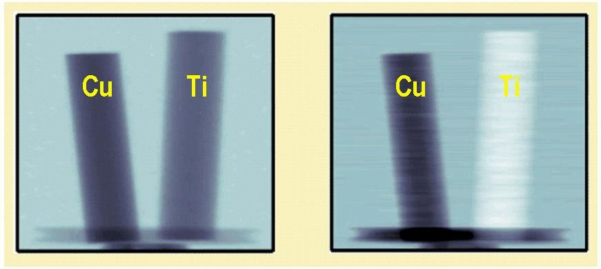 Measured neutron images of two metallic rods with 6 mm diameter made of copper and titanium. (Left) Conventional absorption image. (right) phase contrast image.