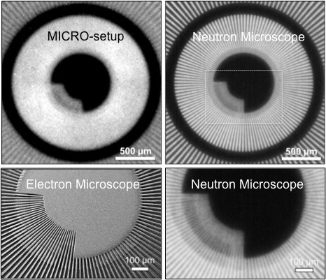 Comparison of the images of the gadolinium Siemens star test object using (left top) the standard MICRO-setup, (right) the neutron microscope, and (left bottom) an electron microscope . For details, please see Trtik et al [1].
