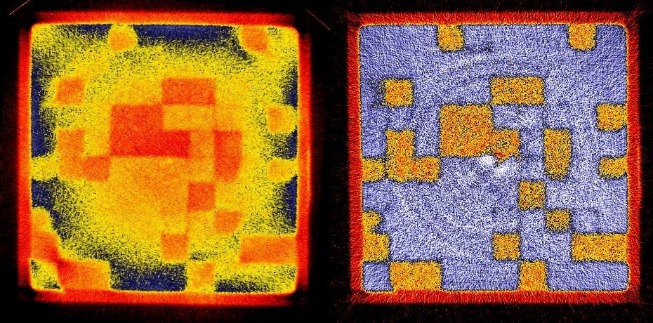 Horizontal slice of the neutron tomography data set of a sand package (10 cm x 10 cm) with different sub-cubes (1 cm x 1 cm). The left data set was obtained after reconstruction without scattering correction. The right data represent the correct moisture values which were obtained after application of the QNI correction tool.