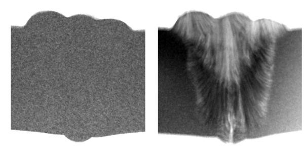 Steel weld: (left) taken with full spectrum, (right) texture effects due to Bragg scattering become visible at limited energy bandwith.