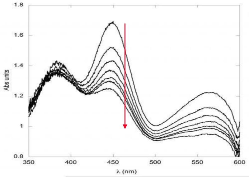 Figure 3: Example of UV/Vis absorption spectra before and after X-ray exposure.