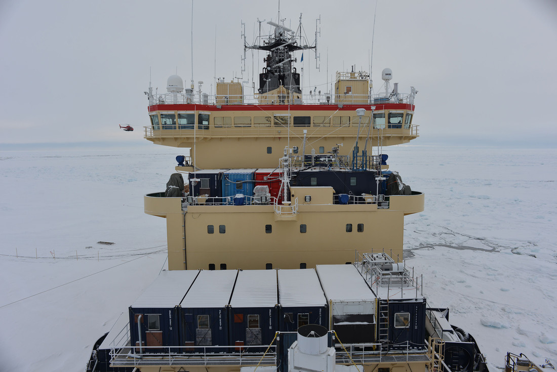 The Swedish icebreaker Oden with research containers on board