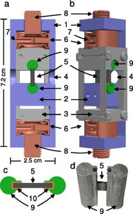 Strain cell developed for Small Angle Neutron Scattering is shown; Appl. Phys. Lett. 110, 192409 (2017).