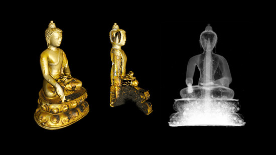 Buddha Shakyamuni, 14th or 15th century CE. Sitting Buddha statue from western Tibet, 15 centimetres high, made of brass and copper, with original seal.  Figure: Paul Scherrer Institute / Neutron Imaging and Activation Group