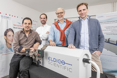 ELDICO Scientific closes seed financing round of CHF 1.5 million: (f.l.t.r.) Dr. Gustavo Santiso (Chief Scientific Officer), Nils Gebhardt (CFO), Dr. Eric Hovestreydt (CEO), Dr. Gunther Steinfeld (CTO)