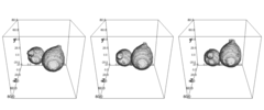 Translation and rotation of two individual grains during a mechanical test of a granular bulk material