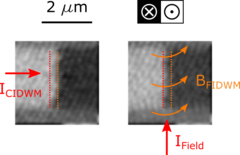 Scanning transmission x-ray microscopy images of the current- and magnetic field-induced domain wall motion process in a PMA material.