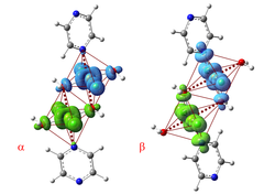 Crystallographic structure of [CuF2(H2O)2]2pyrazine below (left) and above the structural phase transition observed at 18 kbar. The images show calculated spin-density distributions of the ground state, with spins up and down represented in cyan and green, respectively. (Image adapted from [1].)